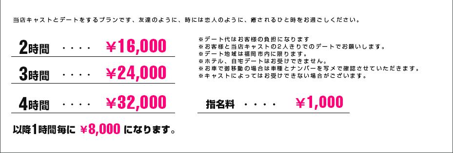 デートコース料金表